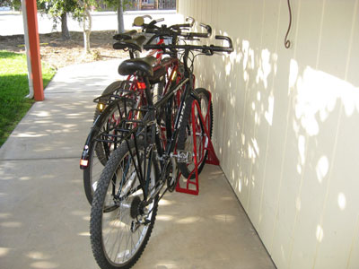 Angled Bike Racks - 3 Slot - 3 Bikes - Wall