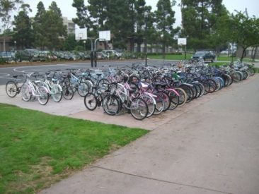 Double-Sided Bike Racks - Basketball Lot Full