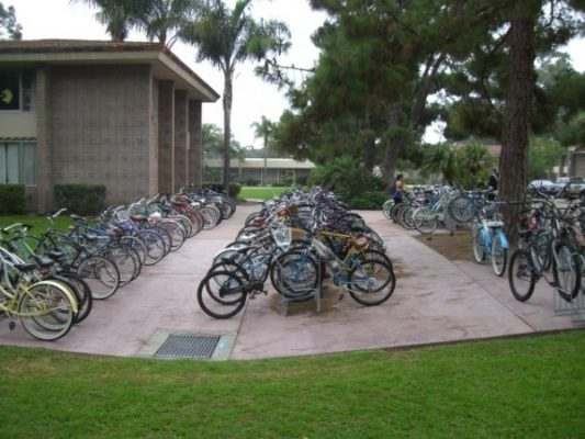 Double-Sided Bike Racks - Parallel Rows
